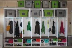 diy garage mudroom lockers with lots of storage garageorganization, foyer, garages, organizing, storage ideas