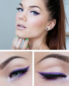 20 styles of eyeliner for eyes that all girls addicted to makeup will want to try - maquillaje - Eye Makeup Lila Eyeliner, Purple Eyeliner, Eyeliner Looks, No Eyeliner Makeup, Black Eyeliner, Hair Makeup, Top Eyeliner, Makeup Inspo, Makeup Inspiration