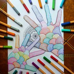 Hands by lady_meli_art Doodle Art Drawing, Zentangle Drawings, Mandala Drawing, Doodle Patterns, Zentangle Patterns, Art Patterns, Love Drawings, Art Drawings, Dibujos Zentangle Art