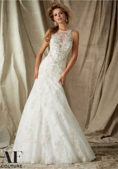 Bridal Gowns By AF Couture featuring Diamante Beaded Alencon Lace Appliques on Tulle- Available in Three Lengths: 55 inches, 58 inches, 61 inches Available in White, Ivory