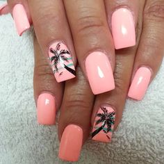 For tropical nails, shades of blue, pink, orange, and green work just perfectly. We have gathered some 50 hot tropical nail art designs. Tropical Nail Designs, Tropical Nail Art, Style Tropical, Tropical Paradise, Fabulous Nails, Gorgeous Nails, Stylish Nails, Trendy Nails, Palm Tree Nail Art