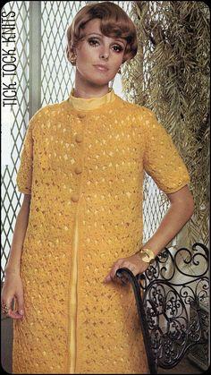 vintage crocheted long coats | PDF Vintage Crochet Pattern Women's Short Sleeved Lacy Crocheted Coat ...