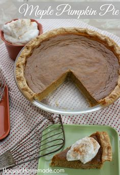 Maple Pumpkin Pie | Recipe on HoosierHomemade.com