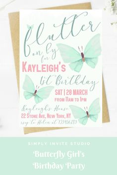 This Green Butterfly (Flutter on By) Birthday Invite is perfect for a little girls' birthday party. This easy to edit birthday party invitation will be a great addition to your little one's Green Butterfly Birthday Party Theme. Birthday Template, Birthday Invitation Templates, Diy Invitations, Birthday Party Invitations, Birthday Party Themes, Invites, Butterfly Birthday Party, 3rd Birthday, Green Butterfly