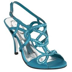 Dark turquoise rhinestone strap shoes – High heel shoes – Shoes … Design works No.131 | Fashion design shoes