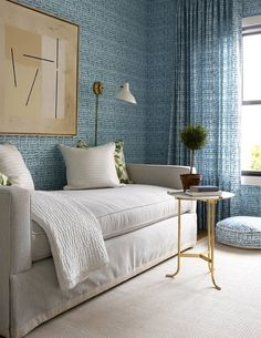 Amy Berry of Amy Berry Design. Amy Berry of Amy Berry Design. Master bedroom seating area with blue patter Kids Bedroom Furniture, Bedroom Decor, Bedroom Ideas, House Furniture, Rustic Furniture, Design Bedroom, Furniture Online, Furniture Design, Bedroom Couch