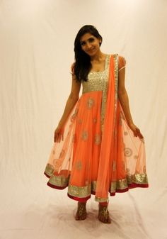 Peach me up!    Peach colour net anarkali with heavy embroidery on the body, border and dupatta borders. This easy on the eyes candy coloured dress is perfect for an evening of fun, dance and masti.    For more,  http://www.czari.in/store/viewproduct.php?show=Women=13=135