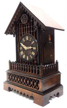 Rare Gallery Cuckoo Mantel Clock – German Black Forest Carved Bracket Clock   767624   Sellingantiques.co.uk Antique Mantle Clock, Antique Photos, Black Forest, German, Carving, Antiques, Gallery, Old Pictures, Deutsch