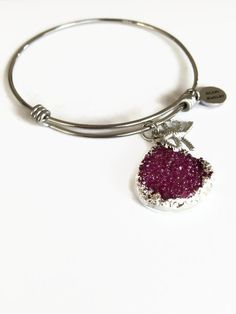 Raspberry Druzy Bangle Expandable Bracelet Adjustable Stainless Steel Stacking Wire Bangle (JB68) by JulemiJewelry on Etsy
