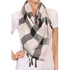 Plaid Blanket Scarf Lightweight with fringe