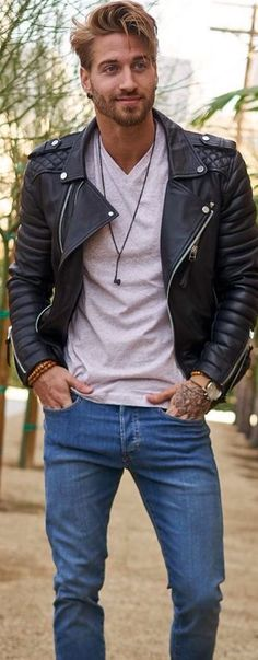The totally timeless look. Cycle jacket t-shirt, and jeans.