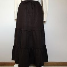 LANDS' END 100% Linen Skirt Dark Brown NWT XS Dark brown linen ruffle skirt. Brand new. Lands End. Elastic waist with drawstring. 100% linen. Tag shows size as extra-small, size 2-4. With elastic, drawstring waist it could probably accommodate a size small and up to around a size 6. 🌸 BUNDLE AND SAVE 10% 🌸 Lands' End Skirts A-Line or Full