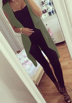 Does your outfit need a lift? Top it over with this army green draped open-front vest.