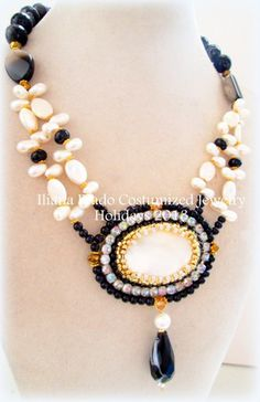 Mother of pearl pendant embroidered with pearl crystals, agate, necklace includes faceted black agate and onyx