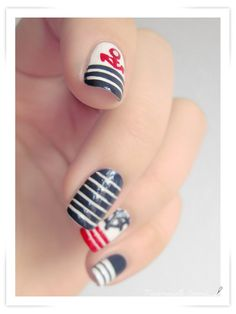 Navy nails sailor nails! if only they ever turn out this good