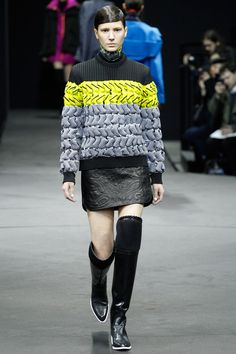 Multicolor knit sweater paired with paisley textured leather skirt by Alexander Wang. #IStyleNY #Style