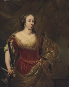 FERDINAND BOL (DORDRECHT 1616-1680 AMSTERDAM) Portrait of a lady, traditionally identified as Maria Louise Gonzaga (1611-1667), Queen of Poland, half-length, in a red dress and gold-embroidered shawl.