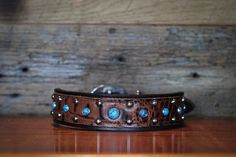 Hey, I found this really awesome Etsy listing at https://www.etsy.com/listing/155433274/leather-dog-collar-black-and-brandy-croc