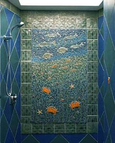 SHOWER INSTALLATION Tile, Classic Italian Smalti and Glazed Ceramic Inserts