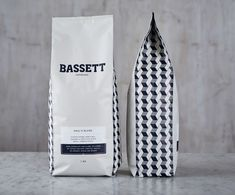 Packaging design for 'Bassett' espresso beans by Squad Ink Cool Packaging, Food Packaging Design, Coffee Packaging, Coffee Branding, Packaging Design Inspiration, Brand Packaging, Product Packaging, Brand Inspiration, Packaging Ideas