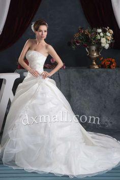 Drop Waist Wedding Dresses Strapless Court Train Satin Organza Ivory 010010702803