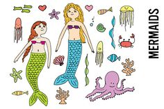 Mermaid Doodle Clipart by Pepper on @creativemarket