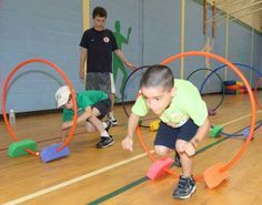 Indoor Obstacle course using hula hoops.