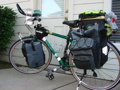 Loaded with Front & Back Ortlieb Panniers and small soft side coolers