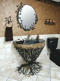 I'm in love with this forge vine bathroom vanity set.