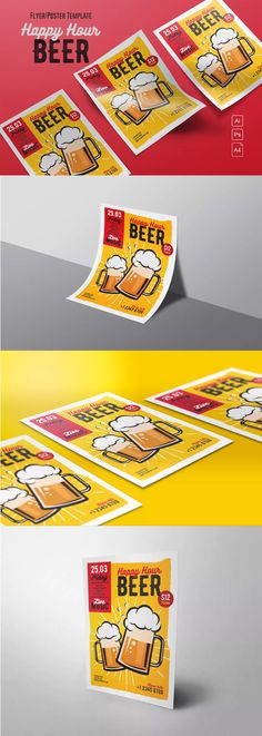 Happy Hour Beer Flyer Template AI, PSD - A4