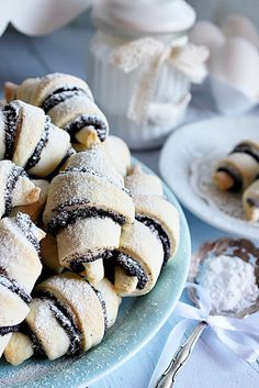 ~ MÁKOS LINZERKIFLI ~ Hungarian Cuisine, Hungarian Recipes, Sweet Cookies, Cake Cookies, Homemade Sweets, Cheesy Recipes, Confectionery, Bakery, Food And Drink