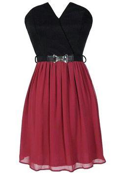 Black/Red Strapless Waist Bow