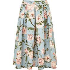 Miss Selfridge Blue Floral Midi Skirt (180 BRL) ❤ liked on Polyvore featuring skirts, women, mid-calf skirt, flower print skirt, blue knee length skirt, floral printed skirt and miss selfridge