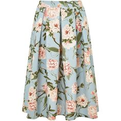 Miss Selfridge Blue Floral Midi Skirt ($50) ❤ liked on Polyvore featuring skirts, bottoms, women, blue midi skirt, mid calf skirt, blue knee length skirt, calf length skirts and blue floral skirt