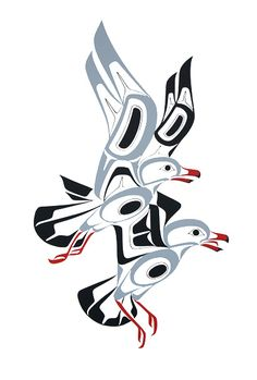 Gulls by Glen Rabena, Northwest Coast Native Artist Haida Kunst, Inuit Kunst, Arte Inuit, Arte Haida, Haida Art, Inuit Art, Kunst Der Aborigines, Sketch Manga, Native American Totem