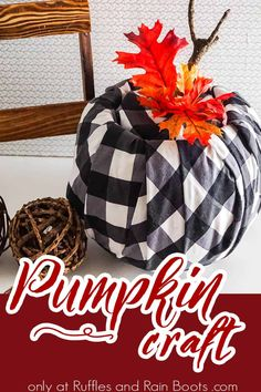 This fun no-sew pumpkin craft is so quick and easy! I love the upcycled pumpkin bucket idea and the end result is perfect. Grab the tutorial here to make your own DIY buffalo check pumpkin craft!