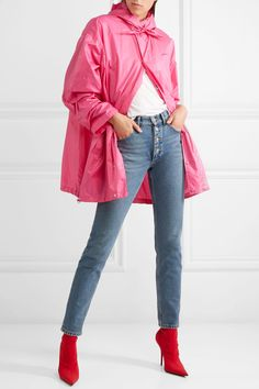 Pink shell  Snap fastenings through front 100% nylon Dry clean Made in Italy