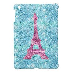 Girly Pink Eiffel Tower, teal blue glitter photo Case For The iPad Mini.  $39.95