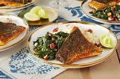 Sumac-Spiced Barramundi with Coconut Rice & Collard Greens - For 4