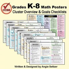 POSTERS with Checklists for Common Core Math K-8! - See at-a-glance how to navigate the Common Core State Standards for math! One poster shows all CCSS cluster overviews K-8 with unique letter-shaped icons to help you locate domains easily, even on black-and-white printouts. For each grade there is one poster with 50-60 clear, concise goals, organized using the same icons. The design makes it easy to compare math content from grade to grade! Also, please FOLLOW my shop to learn about future…