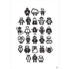 Little Ink robot alphabet print monochrome