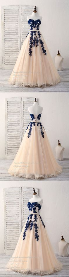 Elegant sweetheart tulle lace applique blue long prom dresses, blue lace evening dress, sweet 16 dress