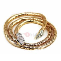 #TideBuy - #TideBuy Viper Snake Shape Diamante Gold-Tone Metal Double Layer Vintage Choker Necklaces - AdoreWe.com