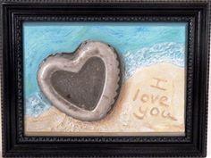 Valentine's Day Original Brevard Florida Beach Trash Art with Found Metal Jello Heart Mold - Sold.