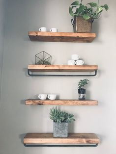 A modern rustic design of a historic farm house in San Juan Capistrano repurposed to be a coffee shop. by Tiffany Lee Ann Design Rustic Design, Rustic Decor, Diy Design, Farmhouse Decor, Design Ideas, Bathroom Wall Shelves, Wall Shelves Design, Love Your Home, Do It Yourself Home