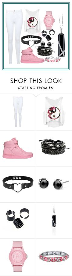 """""""Pink-White-and-Black"""" by unique-awesome-xoxo ❤ liked on Polyvore featuring Miss Selfridge, Moschino, Skechers and 1928"""
