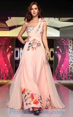 Pink Chiffon Flower Printed Beading Dress
