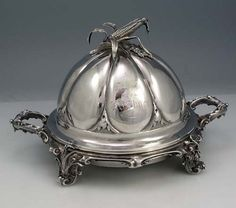 Gorham coin silver butter dish with the cast finial in the form of an ear of corn with leaves peeled back, 1860