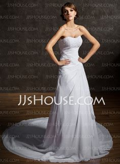 Wedding Dresses - $207.99 - A-Line/Princess Sweetheart Chapel Train Chiffon  Satin Wedding Dresses With Ruffle  Lace  Beadwork (002000462) http://jjshouse.com/A-line-Princess-Sweetheart-Chapel-Train-Chiffon-Satin-Wedding-Dresses-With-Ruffle-Lace-Beadwork-002000462-g462