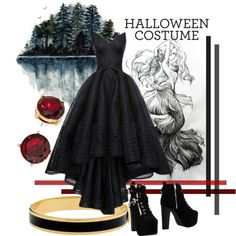 The Lake-Goddes by revinaangela on Polyvore featuring Jeffrey Campbell, Halcyon Days, Halloween, black, halloweencostume, october and diycostume